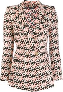 Elisabetta Franchi Printed Logo Blazer - Rosa