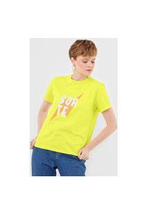 Camiseta Cantão Paz Amor E Sorte Amarela