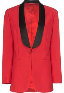 Calvin Klein 205W39Nyc Deep V-Neck Mohair Wool Blend Tux Blazer - Vermelho