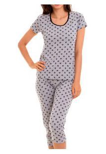 Pijama Capri Patinhas Doce Luar (5021) Viscose