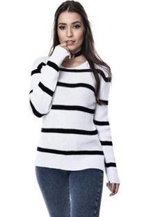 Blusa Helena Tricot Alice Listrado Feminino - Feminino-Branco+Preto