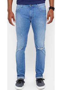Calça Jeans Super Skinny Coca Cola Destroyed Stone Masculina - Masculino-Jeans