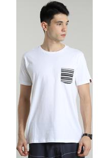 Camiseta Masculina Com Bolso Listrado Manga Curta Gola Careca Off White