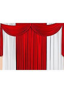 Cortina Casa Conforto Thayná 3M- Vermelho