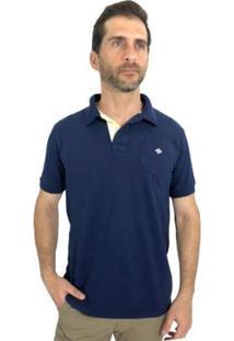 Camisa Polo Mister Fish Slim Com Bolso Masculina - Masculino-Marinho