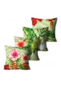 Kit Com 4 Capas Para Almofadas Premium Peluciada Mdecore Floral Verde 45X45Cm