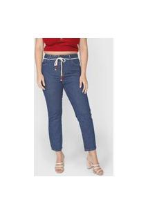 Calça Jeans Cantão Mom Pespontos Azul-Marinho