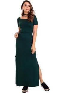 Vestido Gola Canoa Feminino - Feminino-Verde