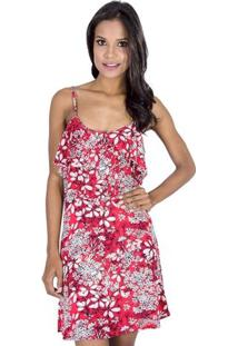 Vestido Evasê Estampado Viscose Handbook - Feminino-Vermelho
