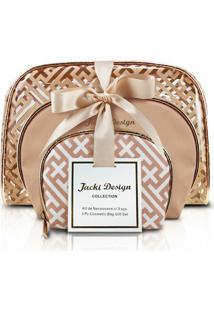Kit De Necessaire Com 3 Peças Jacki Design - Feminino-Dourado