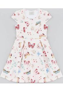 Vestido Infantil Estampado De Borboletas Manga Curta Rosa Claro