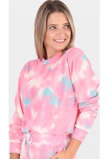 Blusa Cropped Moletinho Comfy Tie Dye Rosa - Rosa - Feminino - Dafiti