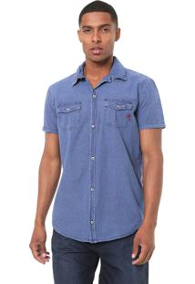 Camisa Jeans Reserva Reta Pespontos Azul