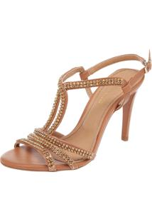 Sandália Dafiti Shoes Strass Caramelo