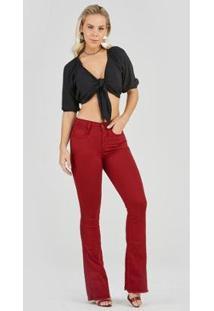Calça Jeans Express Flare Nikita Bordô - Feminino