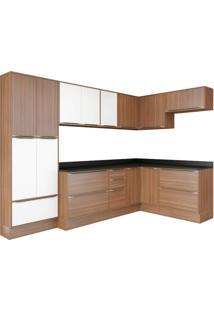 Cozinha Compacta Multimóveis Calábria 5462R.680.131.680 Nogueira Branco Se