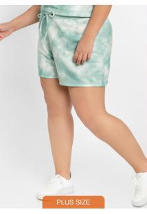 Shorts Print Com Estampa Verde Tie Dye