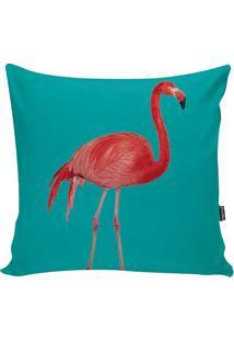 Capa De Almofada Flamingo- Verde Água & Rosa- 42X42Cstm Home