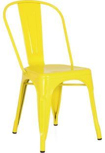 Cadeira Iron Tolix - Industrial - Aço - Vintage - Amarelo Claro