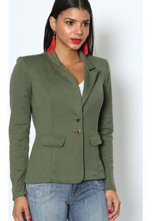 f59a35bf82 ... Blazer Liso Com Lapela - Verde Militardimy