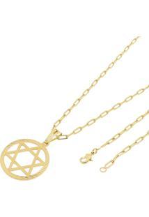 Pingente Estrela De Davi Com Corrente Cartier Longa Tudo Jóias Folheada A Ouro 18K Dourada