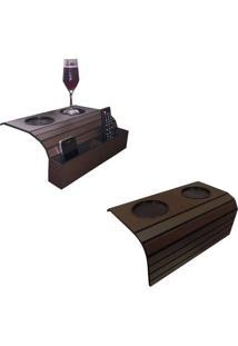 Bandeja Porta Copo Kit Com 1 Porta Controle E 1 Tradicional Cor:Tabaco