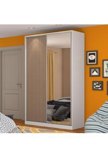 Guarda-Roupa Solteiro 2 Portas Correr 1 Espelho 100% Mdf Rc2004 Branco/Ocre - Nova Mobile