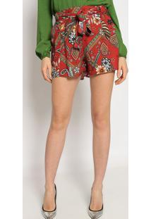 Short Floral - Vermelho Escuro & Marrom - Sommersommer