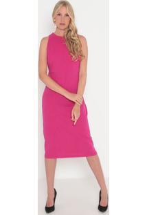 Vestido Liso Com Vazado- Pink- Sommersommer