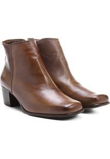 Bota Couro Shoestock Curta Quadradinha Feminina - Feminino-Caramelo