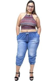 Calça Jeans Brunfer Plus Size Jogger Siberia Brunfer Jeans Feminina - Feminino-Azul