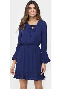 Vestido azul marinho manga longa