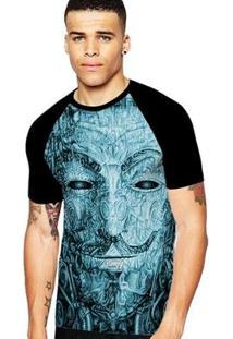 Camiseta Stompy Raglan Modelo 20 Masculina - Masculino-Preto