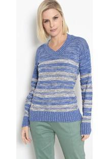 Blusa Em Tricô Listrada- Azul & Cinza- Bhlbhl