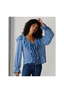 Amaro Feminino Blusa De Amarração Com Babados, Azul Claro