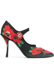 Dolce & Gabbana Scarpin Mary Jane Floral - Preto
