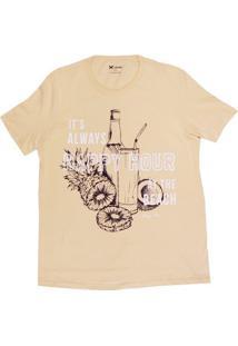 Camiseta Masculina Regular Em Malha De Algodão Com Estampa