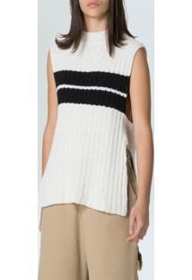 Colete Fem Stripes E-Fabrics-Offwhite Preto - P