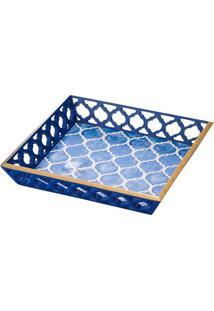 Bandeja Estampada- Azul & Branca- 5X30X30Cm- Lyolyor