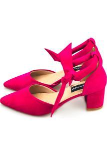 Scarpin Salto Grosso Love Shoes Traseiro Chanel Amarração Pink
