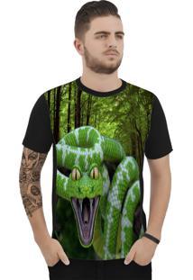 Camiseta Ramavi Green Snake Manga Curta Preto