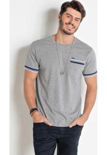 Camiseta Cinza Com Detalhe Nas Mangas