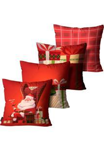 Kit 4 Capas Para Almofadas Mdecore Natal Papai Noel Vermelha 45X45Cm