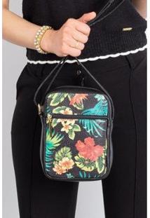 Bolsa Feminina Shoulder Bag De Couro Estampado Pietra - Feminino-Floral