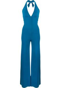 Fisico Halterneck Flared Jumpsuit - Azul