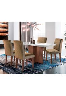 Conjunto De Mesa De Jantar Berlim I Com Tampo De Vidro Off White E 4 Cadeiras Grécia Animalle Chocolate