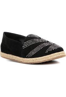 Sapatilha Couro Shoestock Hot Fix Feminina - Feminino-Preto
