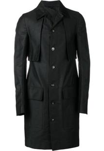 Rick Owens Trench Coat Com Efeito Encerado - Preto