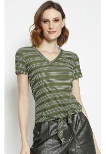 Blusa Com Textura Listrada- Verde & Brancala Chocolãª