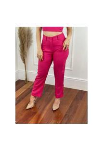 Calça Skinny Em Linho Botões Na Barra Pink